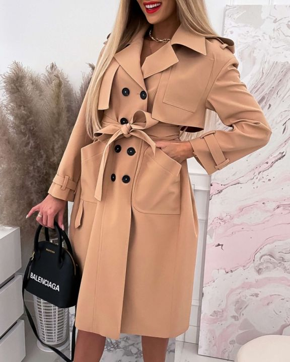Double Breasted Belted Pocket Detail Trench Coat gallery 3