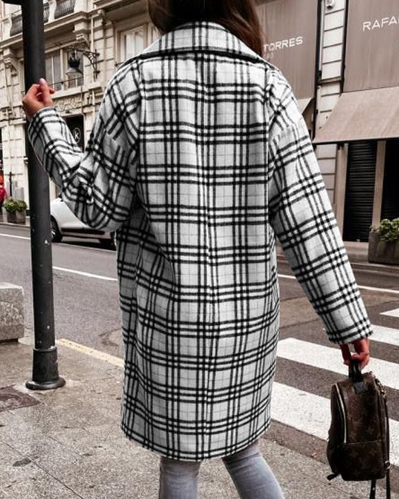 Plaid Print Double Breasted Lapel Neck Coat gallery 7