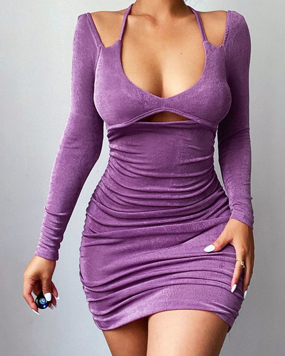Solid Ruched Cut Out Front Tie Back Mini Dress gallery 1