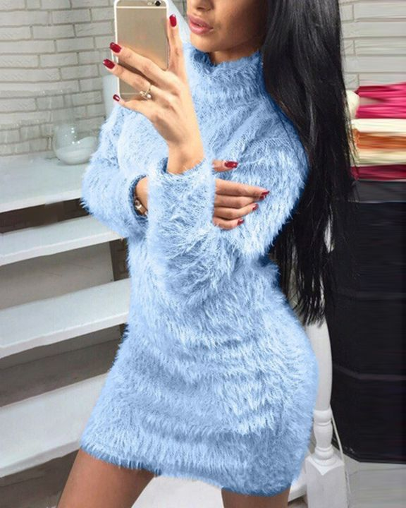 Fuzzy High Neck Long Sleeve  Mini Dress gallery 2