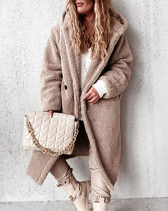 Solid Double Breasted Slant Pocket Teddy Coat gallery 2