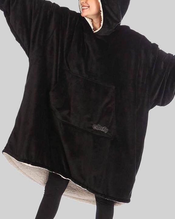 Maple Leaf Print Kangaroo Pocket Thermal Wearable Blanket Coat gallery 17