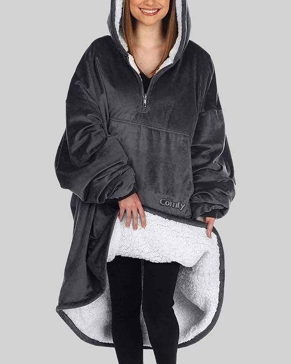 Maple Leaf Print Kangaroo Pocket Thermal Wearable Blanket Coat gallery 4