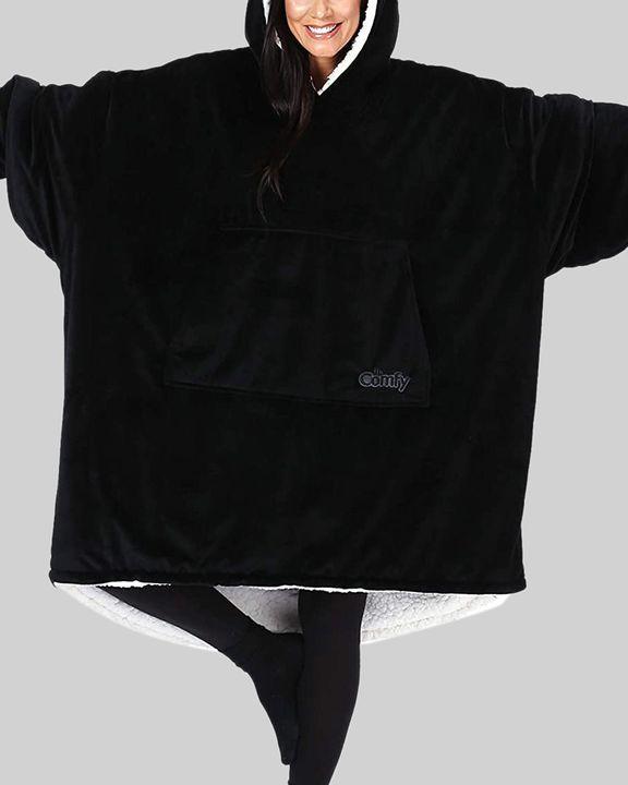 Maple Leaf Print Kangaroo Pocket Thermal Wearable Blanket Coat gallery 19