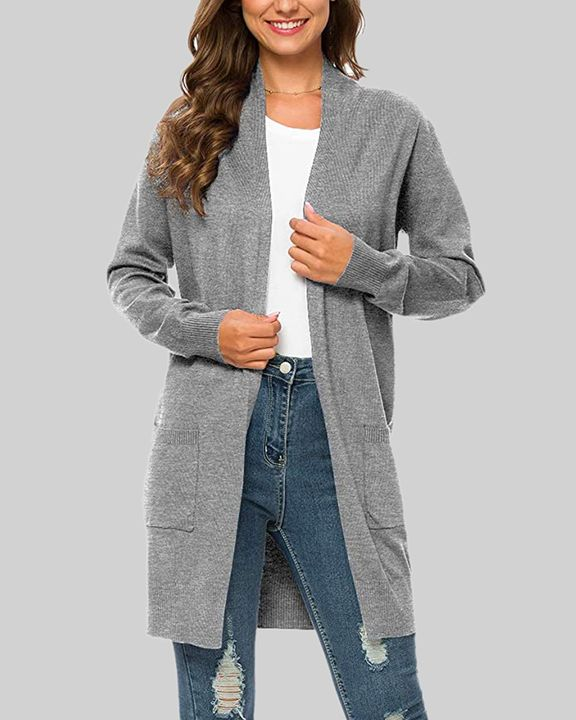 Solid Dual Pocket Open Front Cardigan gallery 4