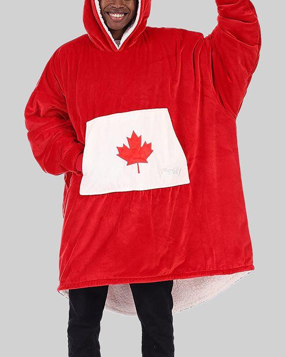 Maple Leaf Print Kangaroo Pocket Thermal Wearable Blanket Coat gallery 35