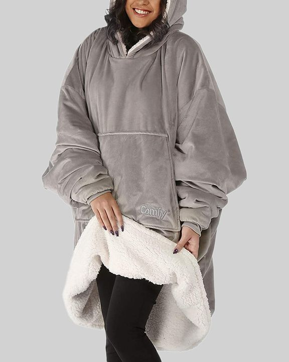 Maple Leaf Print Kangaroo Pocket Thermal Wearable Blanket Coat gallery 5