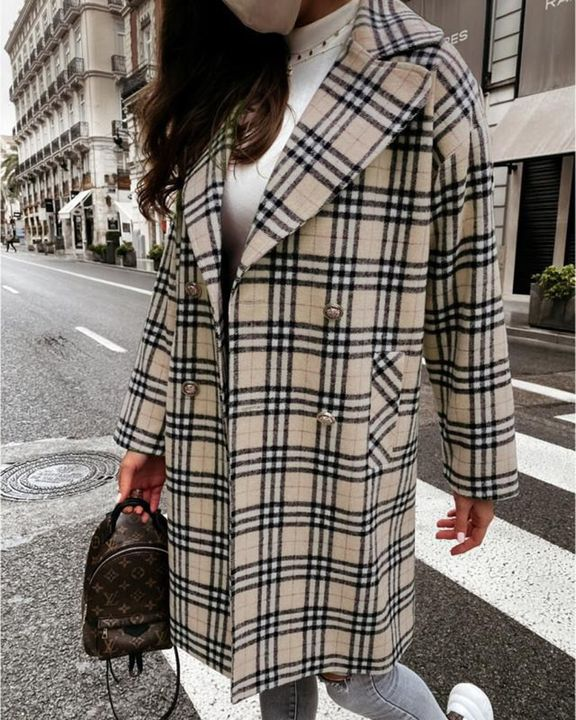 Plaid Print Double Breasted Lapel Neck Coat gallery 8