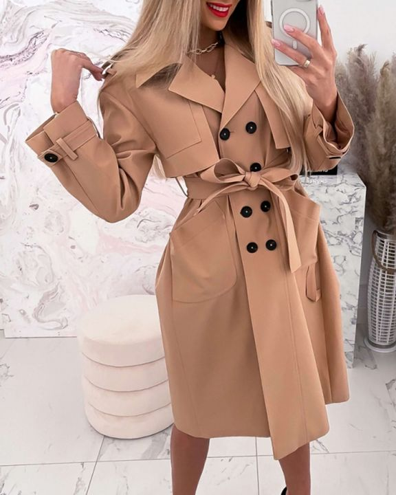 Double Breasted Belted Pocket Detail Trench Coat gallery 2