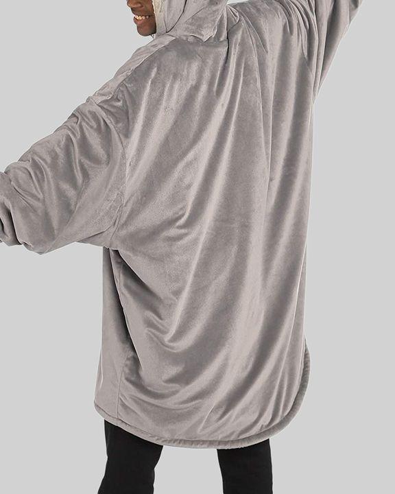 Maple Leaf Print Kangaroo Pocket Thermal Wearable Blanket Coat gallery 41