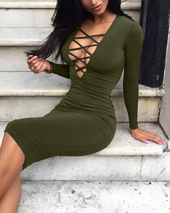 Solid Criss Cross Hollow Out Form Fitting Midi Dress gallery 6