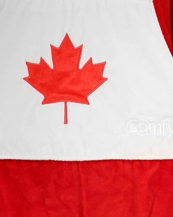 Maple Leaf Print Kangaroo Pocket Thermal Wearable Blanket Coat gallery 37