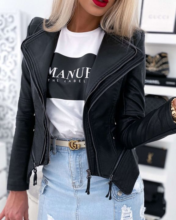PU Leather Zip Front Tiered Layer Asymmetrical Hem Moto Jacket gallery 2