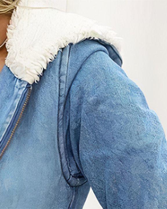 Zip Up Drawstring Detail Hooded Denim Coat gallery 2