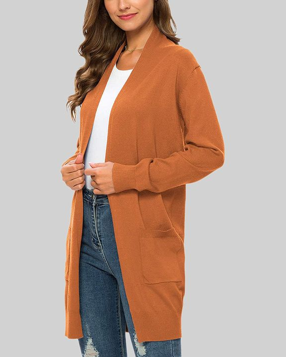 Solid Dual Pocket Open Front Cardigan gallery 9