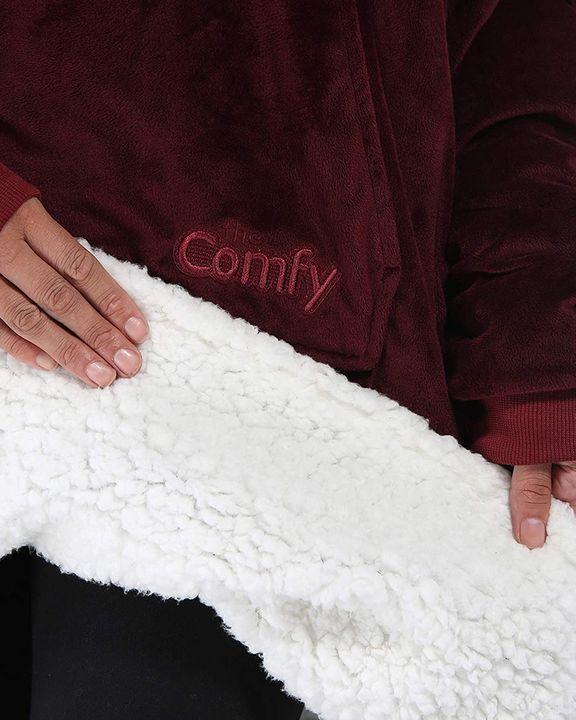 Maple Leaf Print Kangaroo Pocket Thermal Wearable Blanket Coat gallery 16