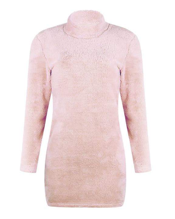 Fuzzy High Neck Long Sleeve  Mini Dress gallery 5