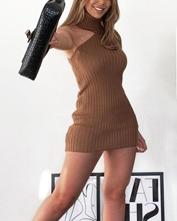 Solid Rib-Knit Cut Out High Neck Bodycon Mini Dress gallery 2