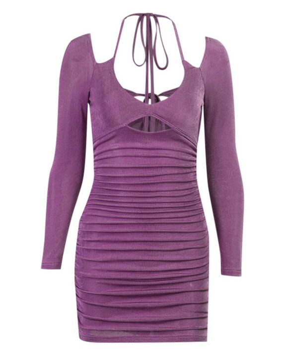 Solid Ruched Cut Out Front Tie Back Mini Dress gallery 7