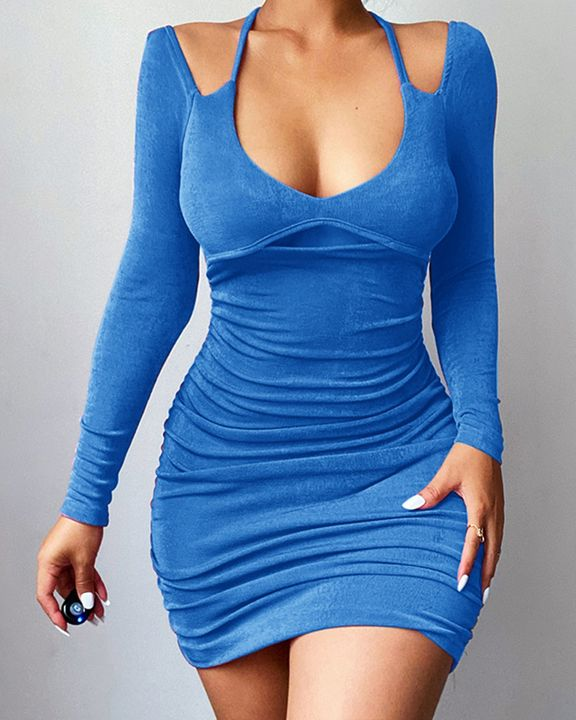 Solid Ruched Cut Out Front Tie Back Mini Dress gallery 2