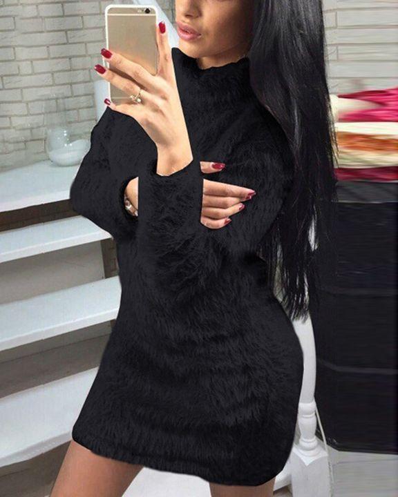 Fuzzy High Neck Long Sleeve  Mini Dress gallery 3