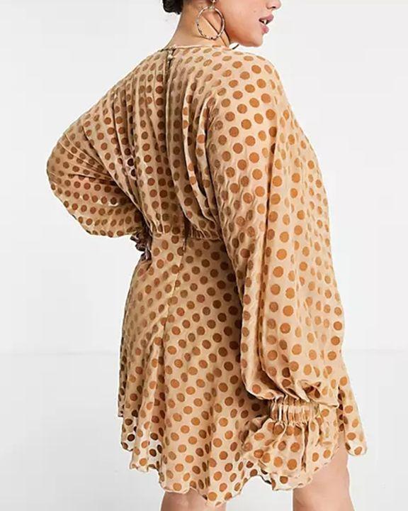 Polka Dot Print Ruffle Cuff Zip Back Mini Dress gallery 3