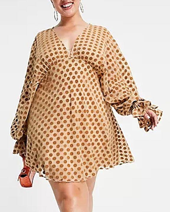Polka Dot Print Ruffle Cuff Zip Back Mini Dress gallery 1