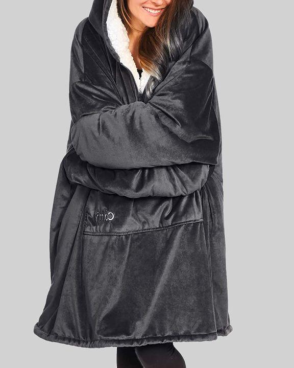 Maple Leaf Print Kangaroo Pocket Thermal Wearable Blanket Coat gallery 29