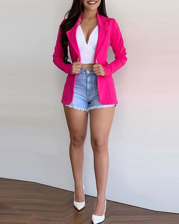 Solid Button Front Lapel Neck Blazer gallery 2