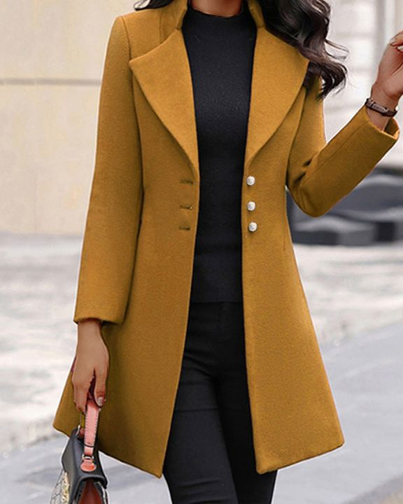 Solid Button Fly Lapel Neck Coat gallery 1