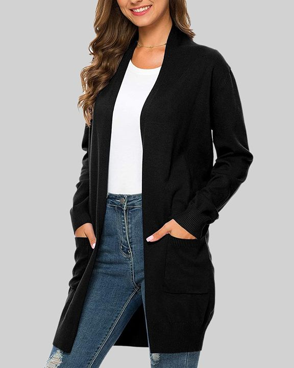 Solid Dual Pocket Open Front Cardigan gallery 25