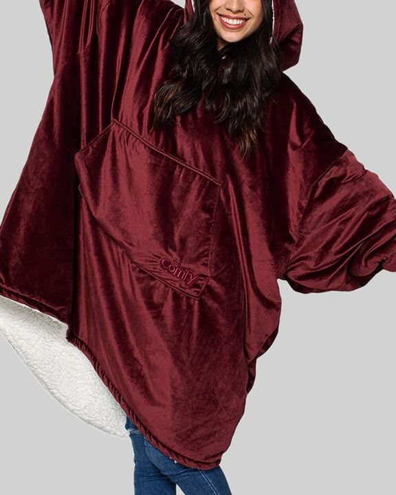 Maple Leaf Print Kangaroo Pocket Thermal Wearable Blanket Coat gallery 13