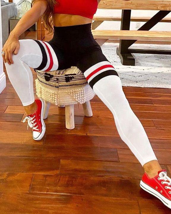 Colorblock Stripe Pocket Side Sports Leggings gallery 2