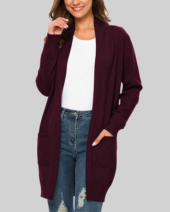 Solid Dual Pocket Open Front Cardigan gallery 17