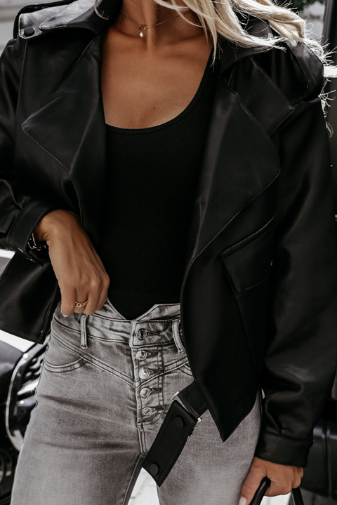 PU Leather Belted Pocket Detail Lapel Neck Jacket gallery 7