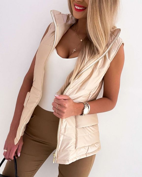 Solid Zip Up Pocket Detail Sleeveless Puffer Coat gallery 1
