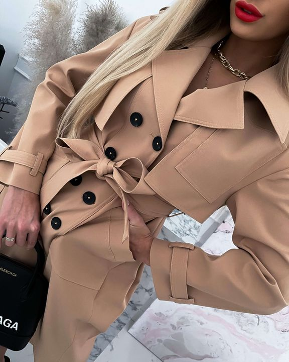 Double Breasted Belted Pocket Detail Trench Coat gallery 5