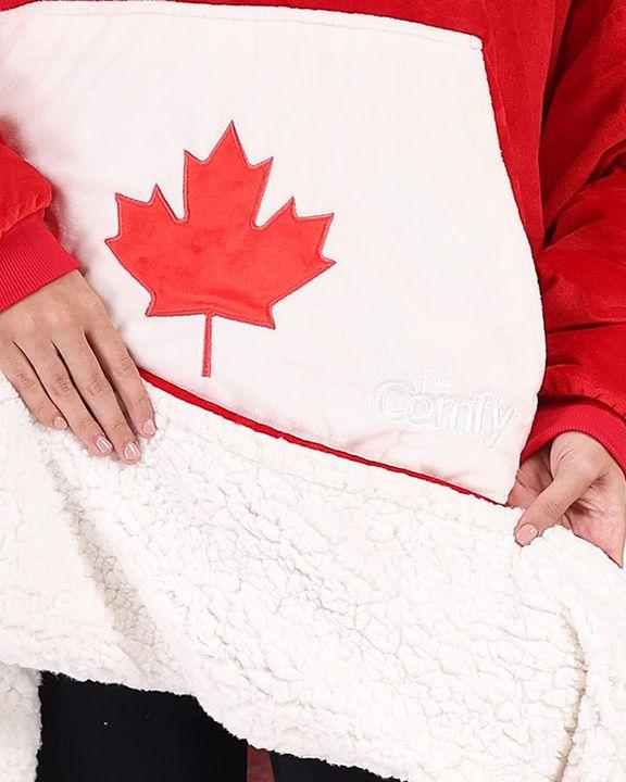 Maple Leaf Print Kangaroo Pocket Thermal Wearable Blanket Coat gallery 38