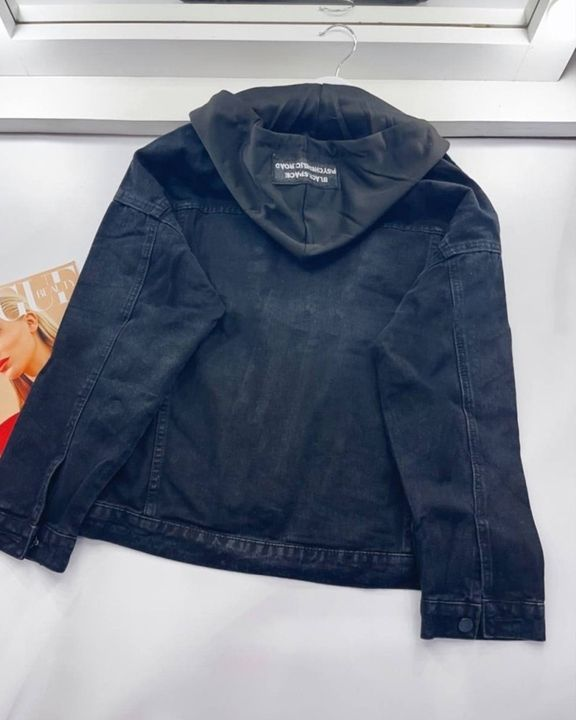 Letter Tape Button Up Drawstring Detail Hooded Denim Jacket gallery 4