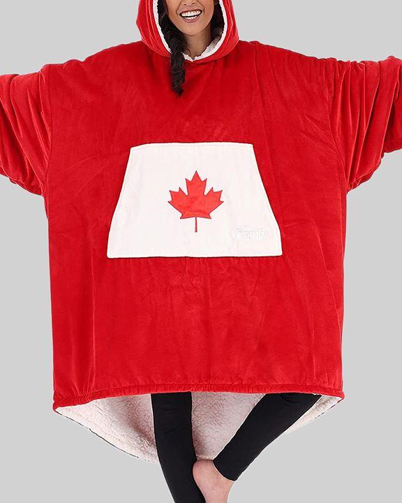 Maple Leaf Print Kangaroo Pocket Thermal Wearable Blanket Coat gallery 12