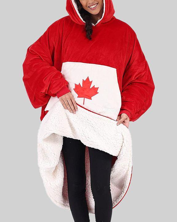 Maple Leaf Print Kangaroo Pocket Thermal Wearable Blanket Coat gallery 1