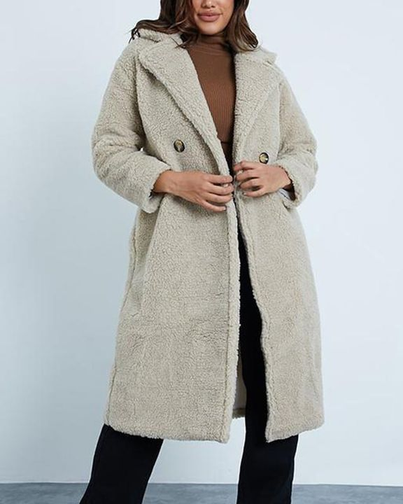 Solid Button Front Lapel Neck Teddy Coat gallery 2