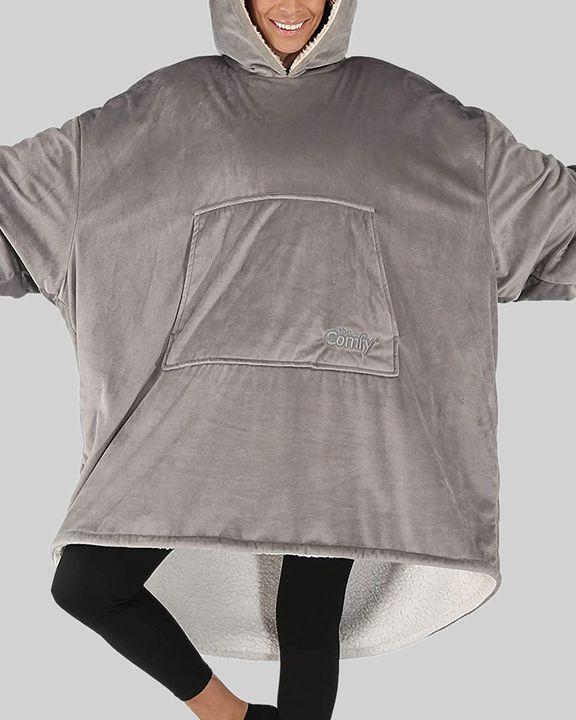 Maple Leaf Print Kangaroo Pocket Thermal Wearable Blanket Coat gallery 40