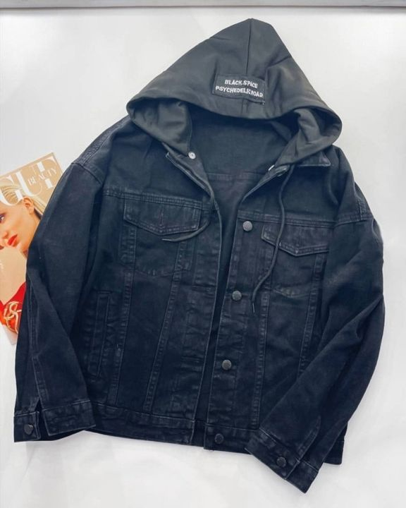 Letter Tape Button Up Drawstring Detail Hooded Denim Jacket gallery 2