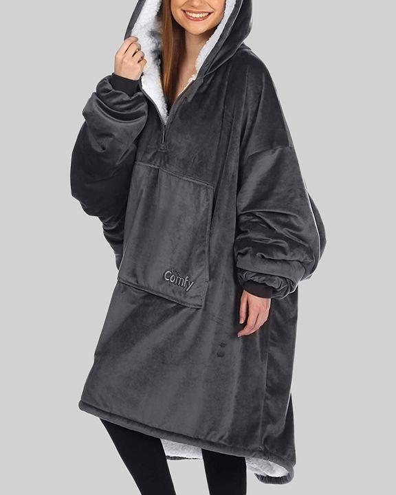 Maple Leaf Print Kangaroo Pocket Thermal Wearable Blanket Coat gallery 31