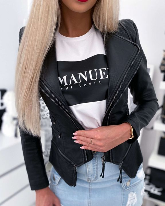PU Leather Zip Front Tiered Layer Asymmetrical Hem Moto Jacket gallery 3