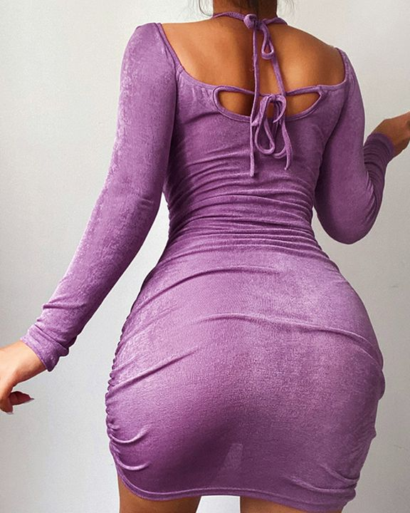 Solid Ruched Cut Out Front Tie Back Mini Dress gallery 4