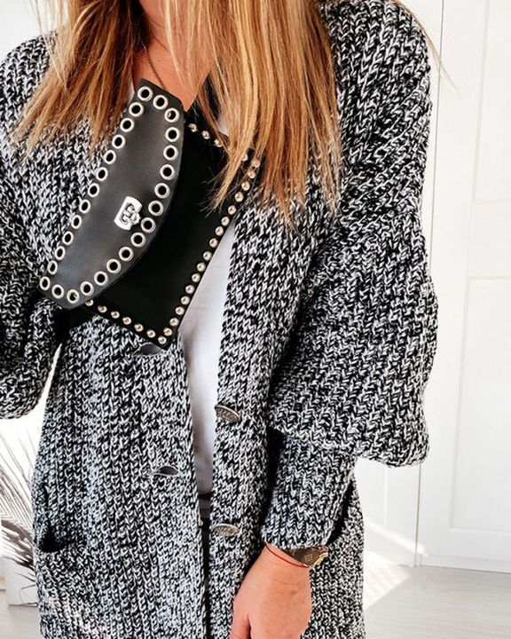 Patch Pocket Puff Sleeve Open Front Cardigan gallery 6