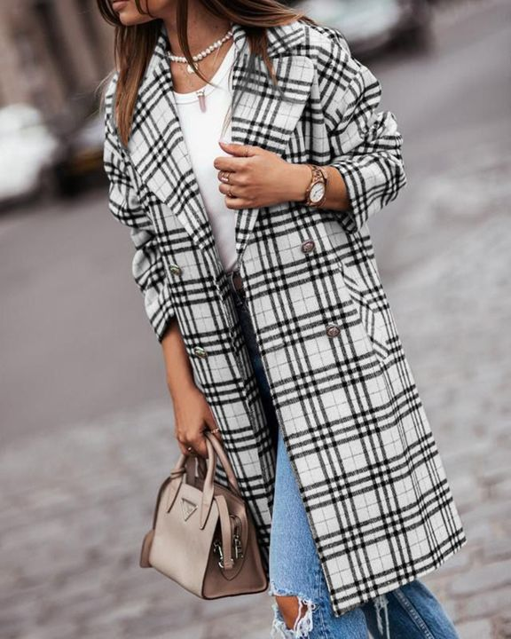 Plaid Print Double Breasted Lapel Neck Coat gallery 6