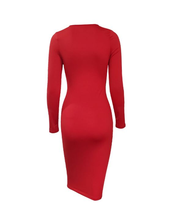 Solid Criss Cross Hollow Out Form Fitting Midi Dress gallery 5